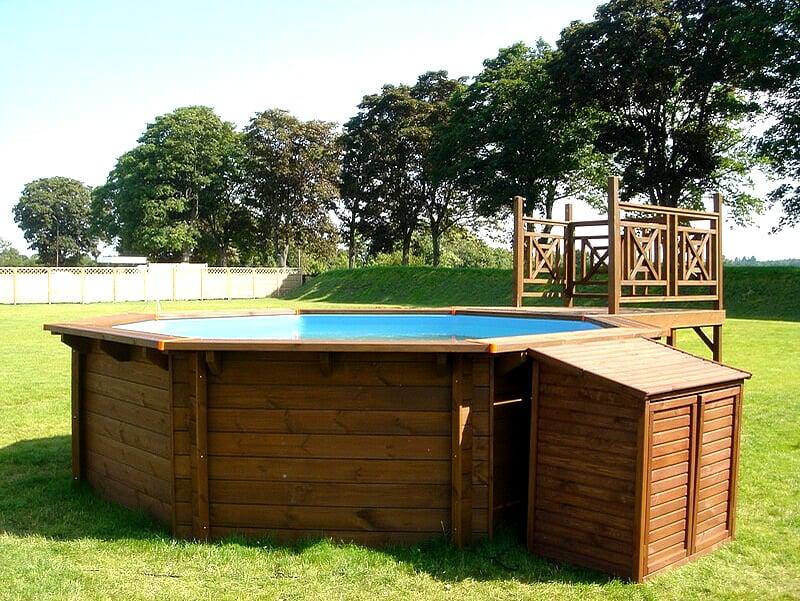 Terrazza in legno per piscine fuori terra in legno jardin - Piscina fuori terra interrata ...