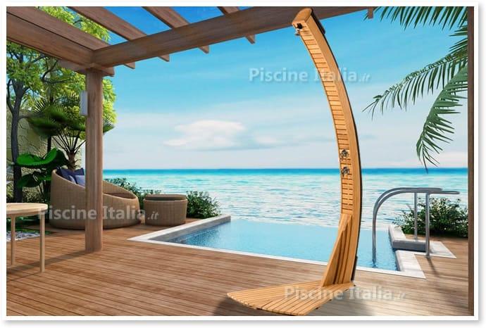 Piscineitalia doccia solare per piscine giordano teak - Doccia solare per piscina ...