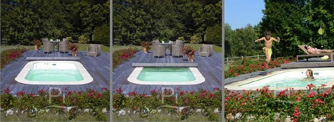 Minipiscina vasca idromassaggio SPA Blue Vision - Terrazza scorrevole