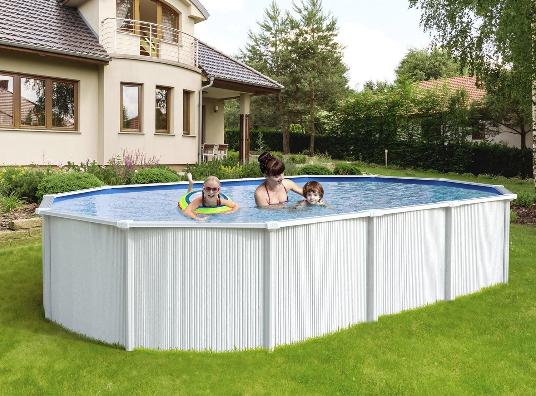 Piscina Da Esterno Fuori Terra piscina fuori terra in acciaio white pool 490x360x120 cm