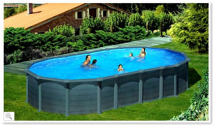 Piscina fuori terra gre in acciaio ovale capri 730 piscine italia