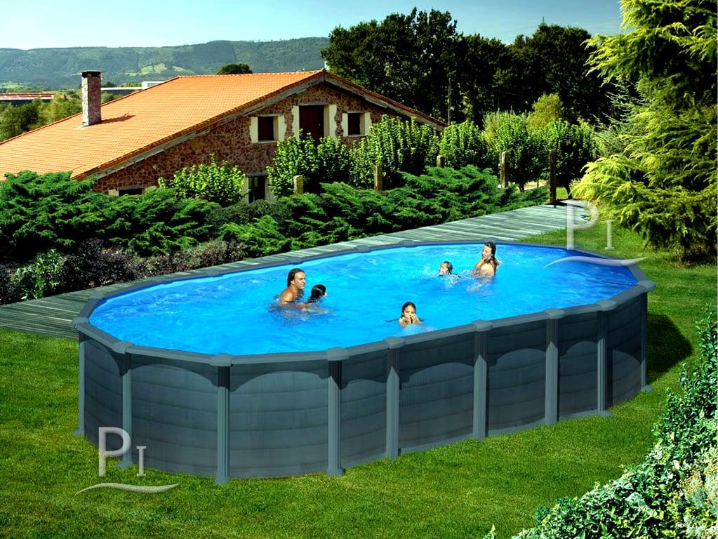 Piscina fuori terra gre in acciaio ovale capri 730 piscine italia - Piscine in acciaio fuori terra ...