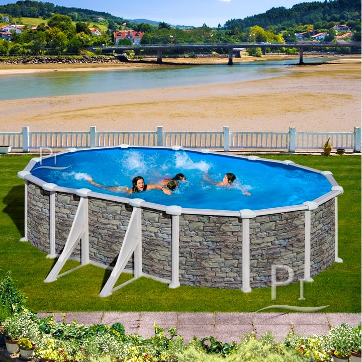 Piscina fuori terra gre in acciaio ovale skyathos 610 piscine italia - Piscine in acciaio fuori terra ...
