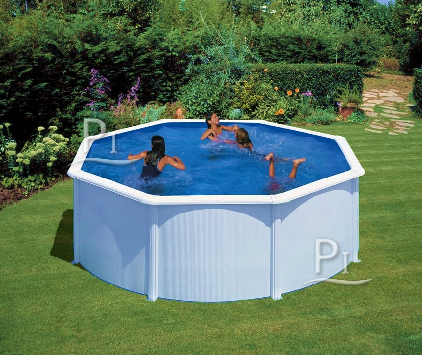 Piscineitalia piscina fuoriterra in acciaio rotonda san for Piscinas desmontables baratas intex
