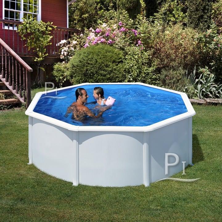 Piscineitalia piscina fuoriterra in acciaio rotonda for Piscinas gre carrefour