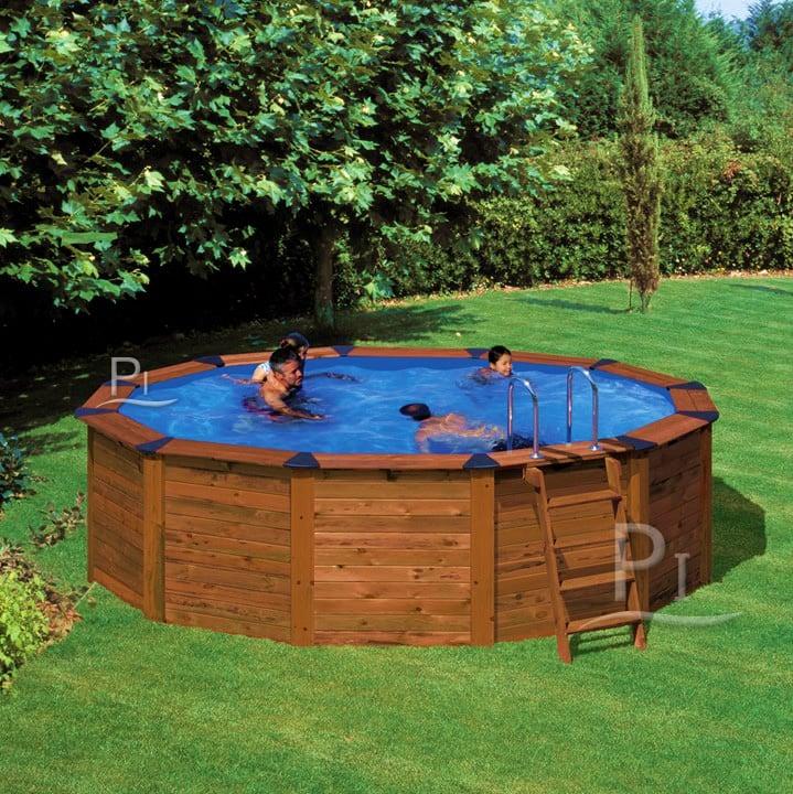 Piscineitalia piscina fuori terra in acciaio e legno for Piscina rotonda