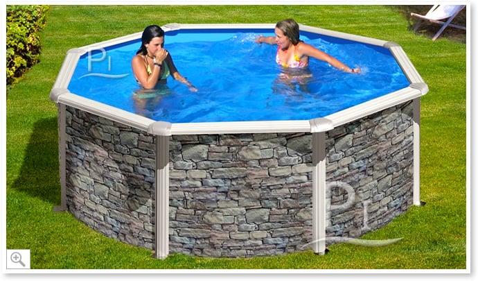 Piscina fuori terra gre in acciaio rotonda skyathos 350 piscine italia