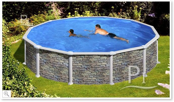 Piscina fuori terra gre in acciaio rotonda skyathos 550 piscine italia