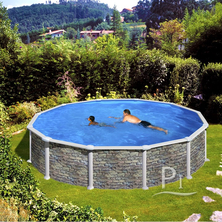 Piscineitalia piscina fuori terra in acciaio iraklion 460 for Litros de una piscina