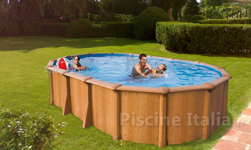 Piscina fuoriterra in acciaio abak effetto legno osmose 920 piscine italia - Piscina fuori terra costi ...