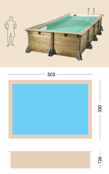 Piscina in legno fuori terra da esterno Ocean 510 Liner azzurro: specifiche tecniche
