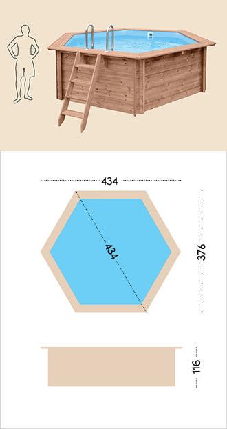 Piscina in legno fuori terra da esterno Jardin 434: specifiche tecniche