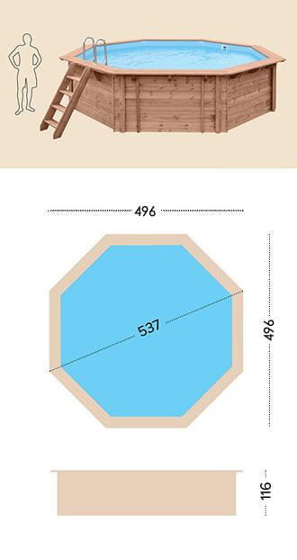 Piscina in legno fuori terra da esterno Jardin 537: specifiche tecniche