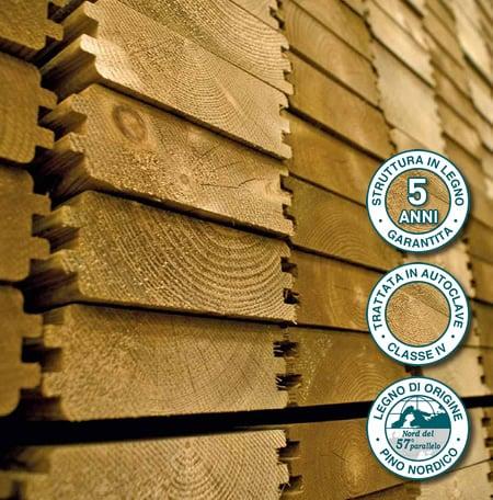 Piscina in legno fuori terra da esterno Jardin 490: struttura in legno naturale di Pino nordico