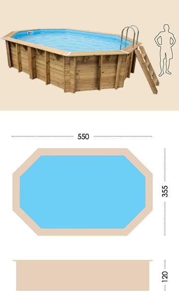 Piscina in legno fuori terra da esterno OCEAN 550x355: specifiche tecniche