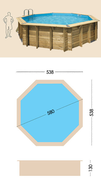Piscina in legno fuori terra da esterno Ocean 580 Liner sabbia: specifiche tecniche