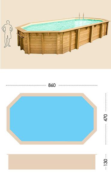 Piscina in legno fuori terra da esterno Ocean 860x470 Liner sabbia: specifiche tecniche