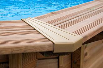 Caratteristiche della piscina in legno fuori terra da giardino Jardin 560: protezioni angolari del bordo in PVC