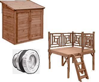 Caratteristiche della piscina in legno fuori terra da giardino OCEAN 550x355: accessori opzionali