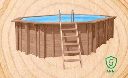 Piscina in legno fuori terra ottagonale allungata Jardin 490: qualità e Sistema a incastro facilitato per una lunga durata.