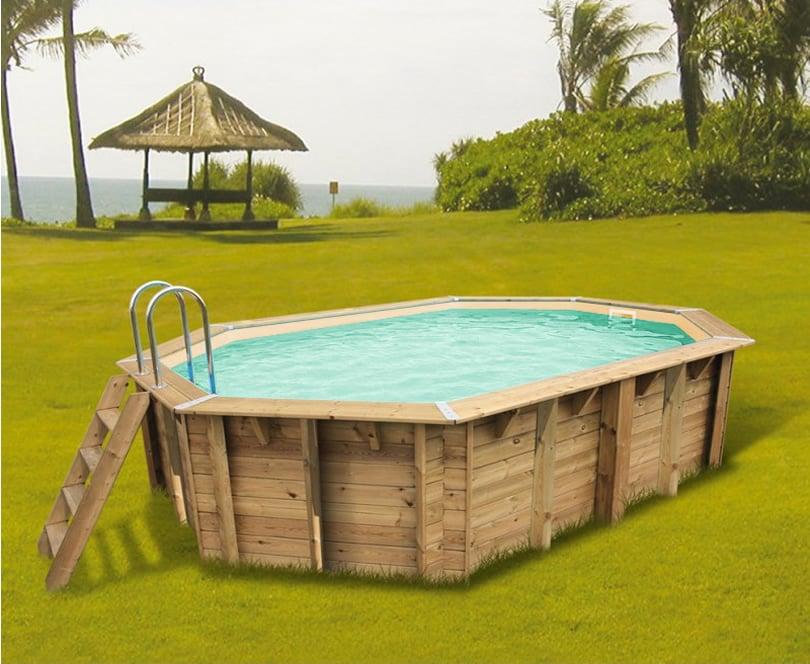 Piscina in legno fuori terra ottagonale allungata da giardino OCEAN 550x355