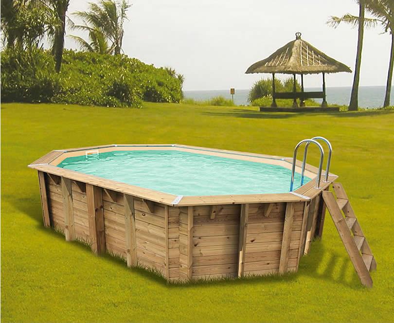 Piscina in legno fuori terra ottagonale allungata da giardino OCEAN 610x400