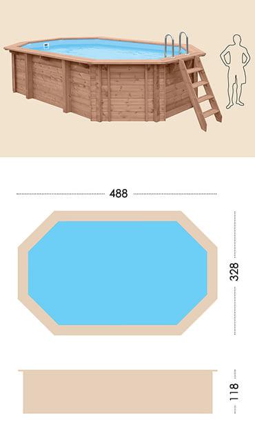 Piscina in legno fuori terra da esterno Jardin 490: specifiche tecniche