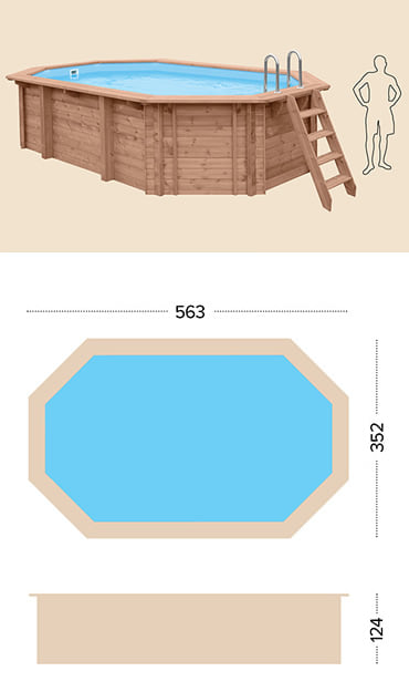Piscina in legno fuori terra da esterno Jardin 560: specifiche tecniche