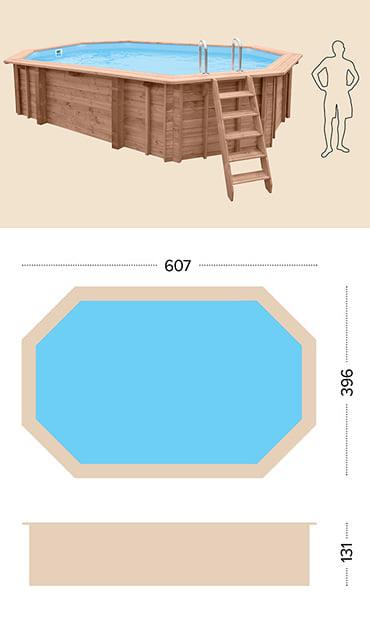 Piscina in legno fuori terra da esterno Jardin 607: specifiche tecniche