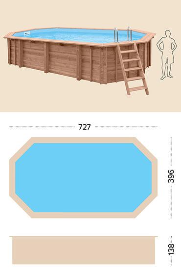 Piscina in legno fuori terra da esterno Jardin 727: specifiche tecniche