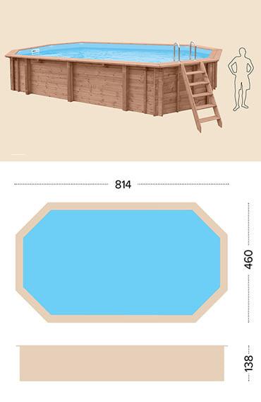 Piscina in legno fuori terra da esterno Jardin 814: specifiche tecniche