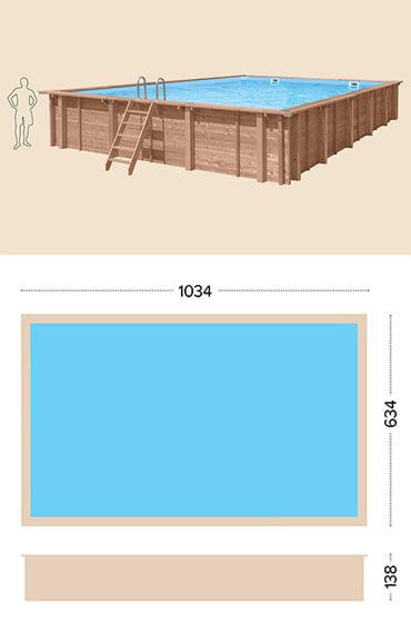 Piscina in legno fuori terra da esterno Jardin CARRE 10x6 m: specifiche tecniche