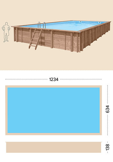 Piscina in legno fuori terra da esterno Jardin CARRE 12x6 m: specifiche tecniche