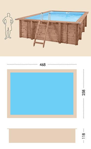 Piscina in legno fuori terra da esterno Jardin CARRE 470: specifiche tecniche