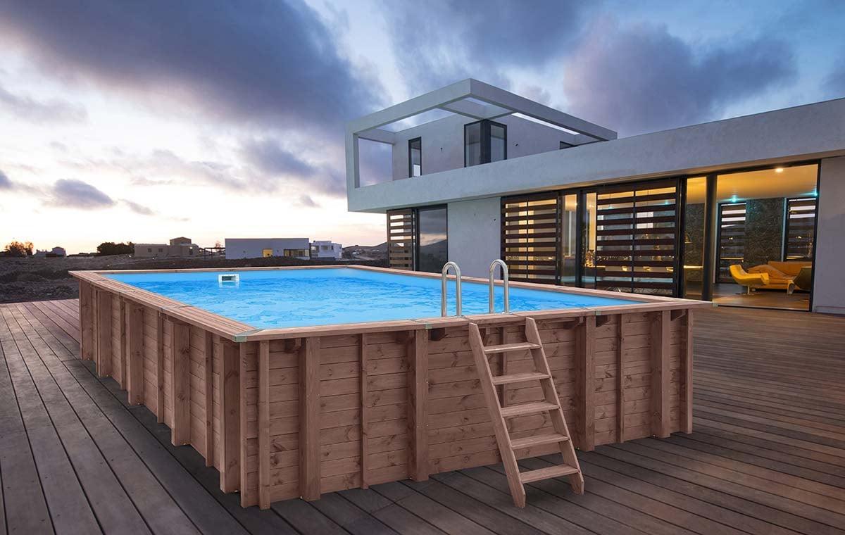 Piscina Da Esterno Fuori Terra piscina in legno fuori terra rettangolare jardin carre 6x4