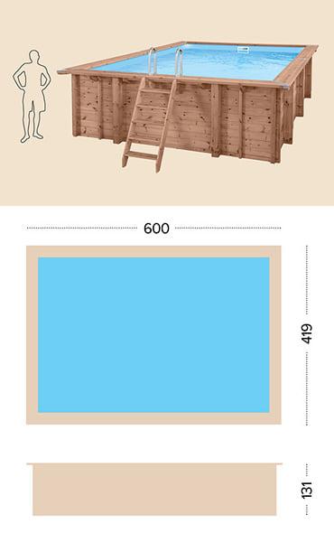 Piscina in legno fuori terra da esterno Jardin CARRE 6x4 m: specifiche tecniche