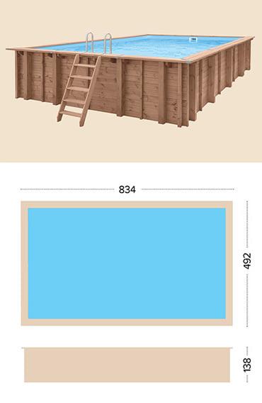 Piscina in legno fuori terra da esterno Jardin CARRE 8x5 m: specifiche tecniche