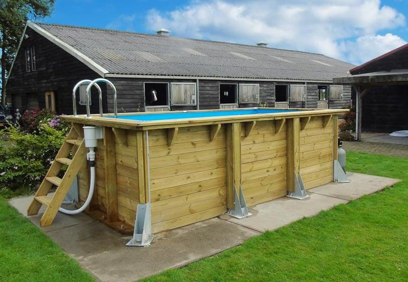 Piscina in legno fuori terra ottagonale circolare da giardino Urban Pool 450x250 Liner azzurro