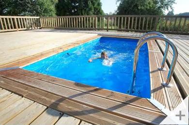 Piscina in legno fuori terra da esterno Urban Pool 450x250 Liner azzurro da esterno