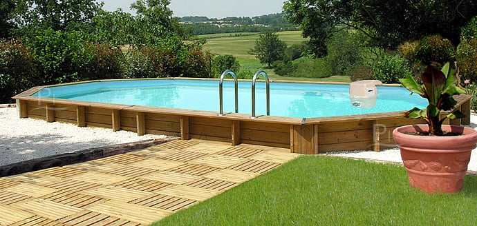 Piscineitalia piscina fuori terra in legno jardin 727 for Piscina fuori terra interrata