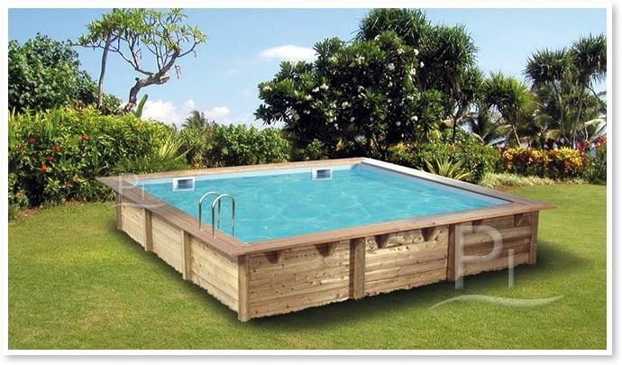 piscina fuori terra in legno rettangolare gloria 3