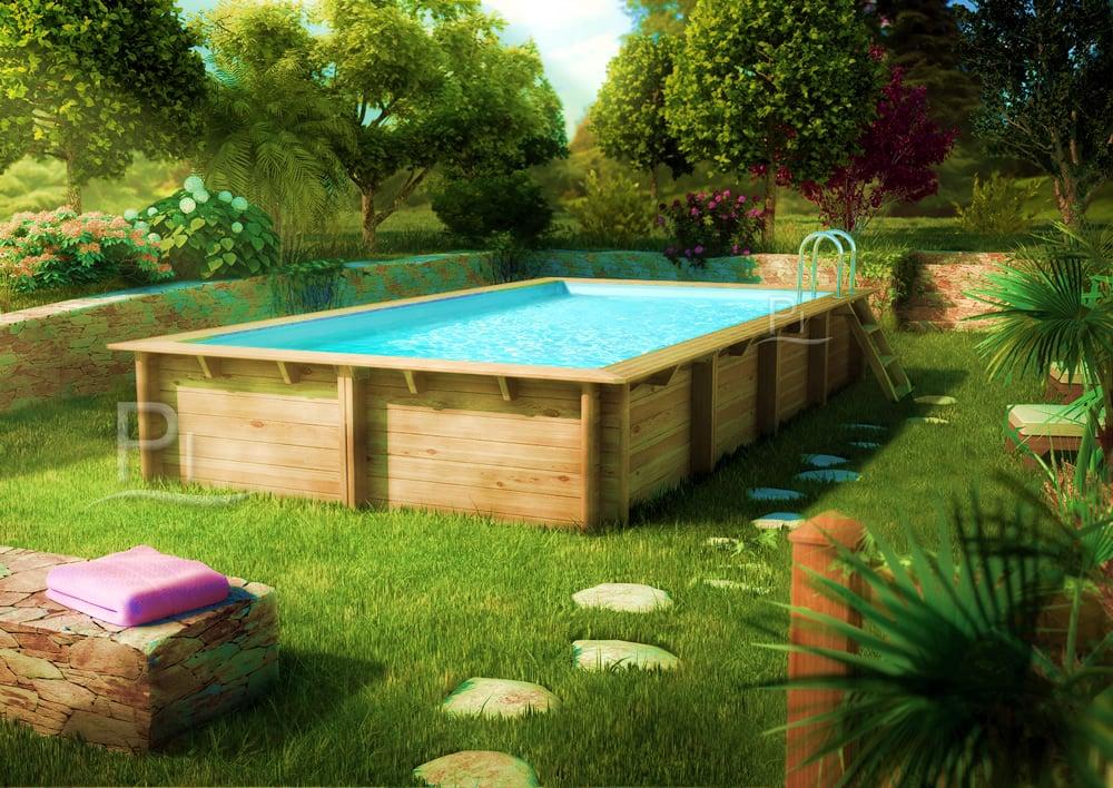 piscina fuori terra in legno rettangolare gloria 4 5x3