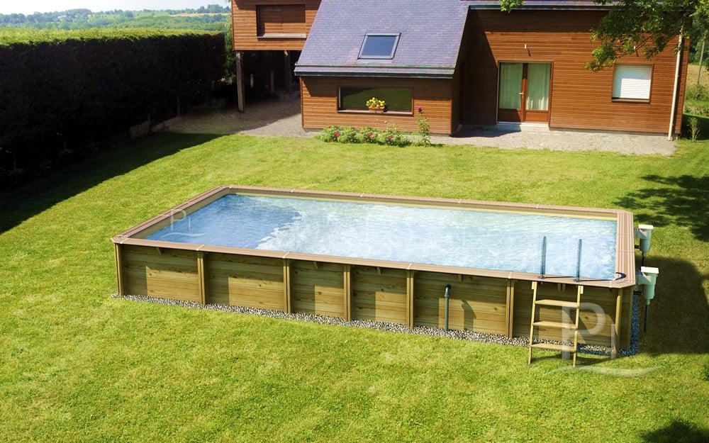 piscina fuori terra in legno rettangolare jardin carre 470