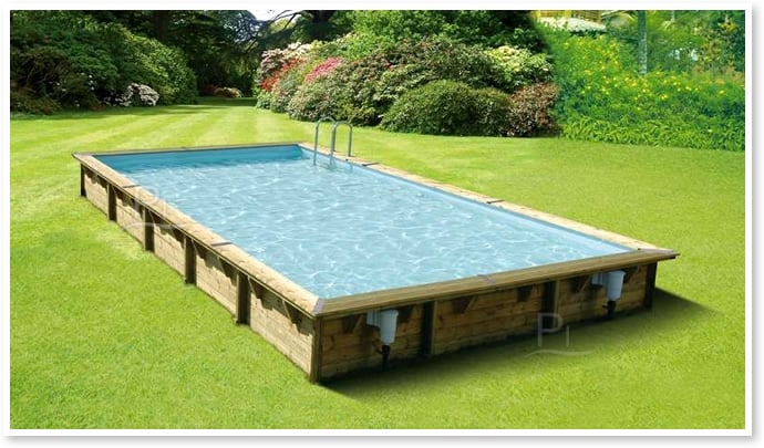 Piscina in legno fuori terra rettangolare gloria 8x4 piscine italia - Piscine rettangolari fuori terra ...