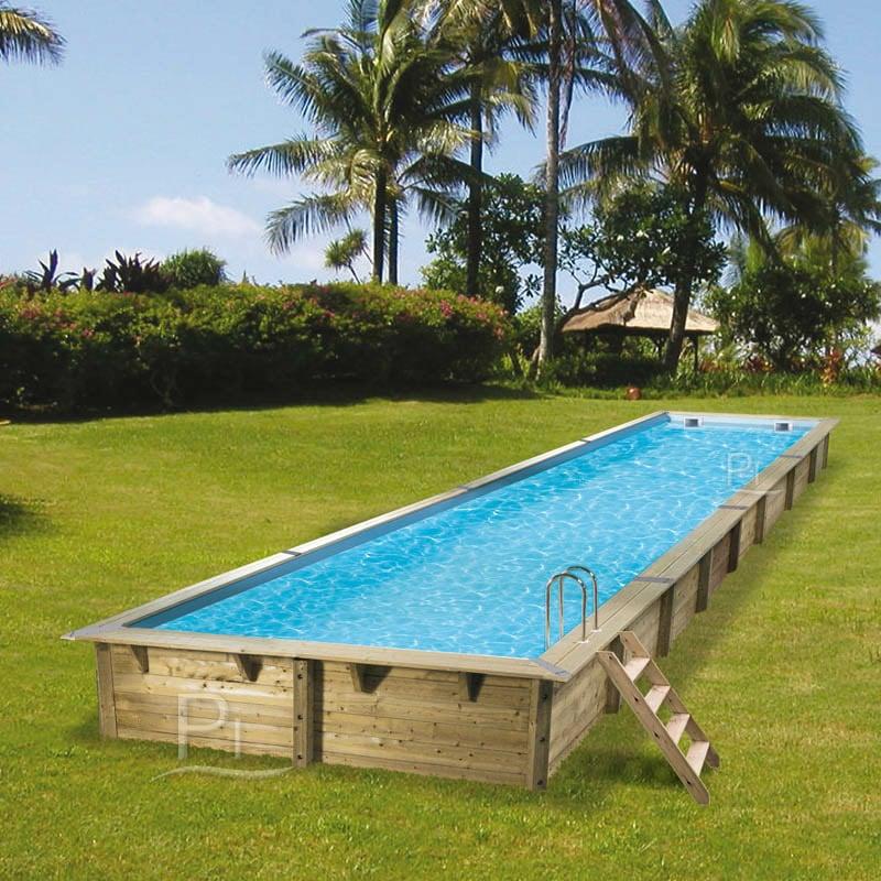 Piscina in legno fuori terra rettangolare gloria 12x4 piscine italia - Docce per piscine esterne ...