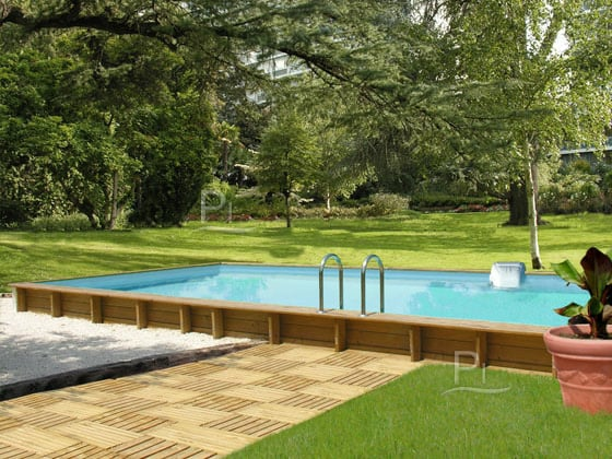 piscina in legno fuori terra rettangolare jardin carre 6x4 piscine italia. Black Bedroom Furniture Sets. Home Design Ideas