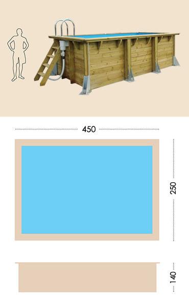 Piscina in legno fuori terra da esterno Urban Pool 450x250 Liner azzurro: specifiche tecniche