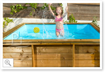 Piscina in legno fuoriterra rettangolare tropic junior 2x2 for Piscina hinchable 2x2