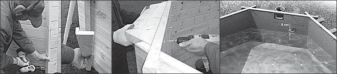Istruzioni di montaggio della piscina in legno fuori terra da giardino OCEAN 550x355