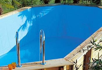 Kit piscina della  piscina in legno fuori terra da esterno Ocean 550x355 Liner azzurro: rivestimento interno o LINER azzurro